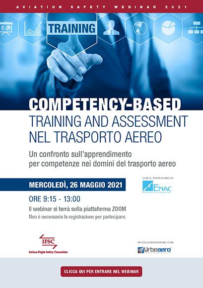 IFSC Webinar Competency-Based Training and Assessment nel trasporto aereo. Locandina