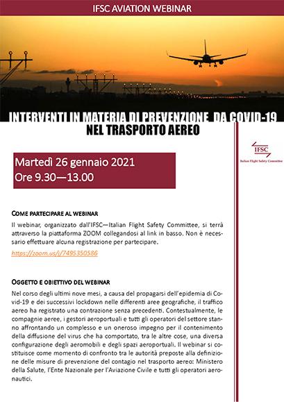 Locandina IFSC Interventi per il COVID19 nel Trasporto Aereo