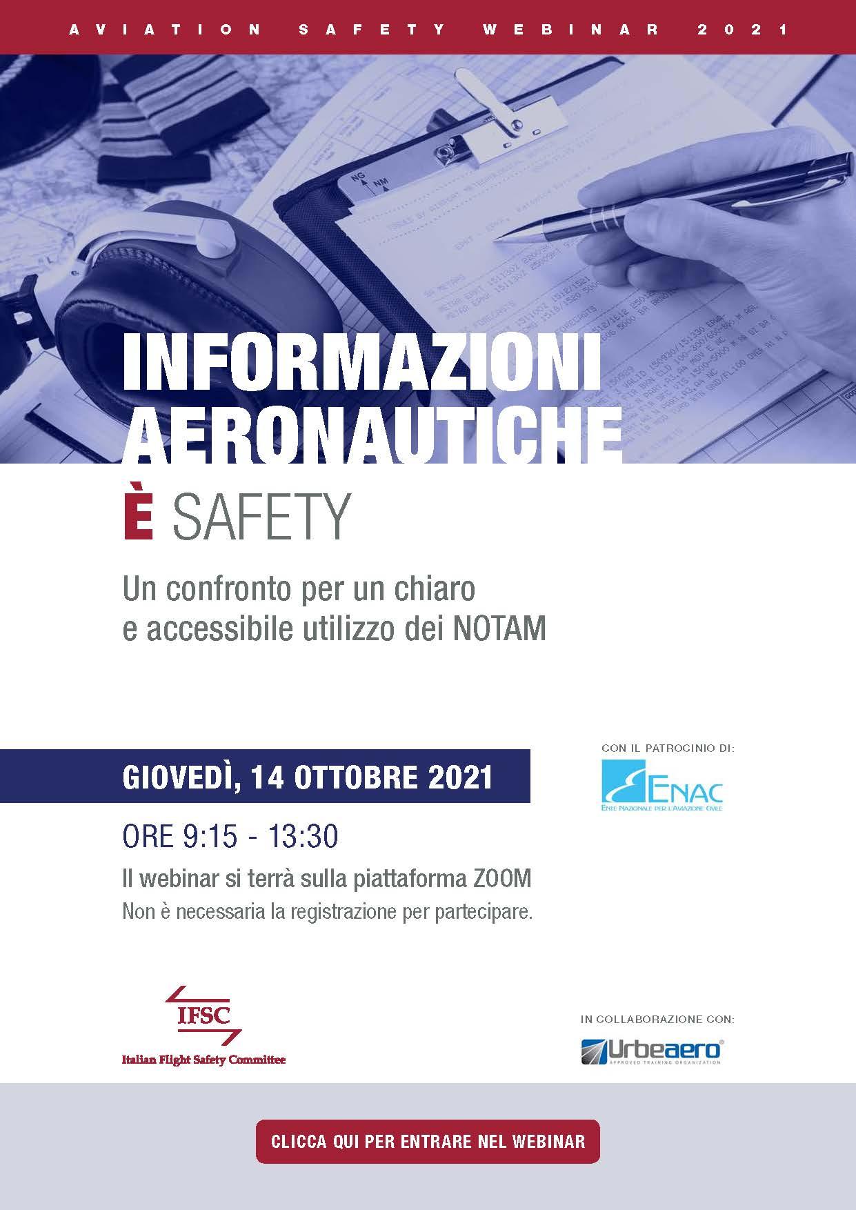 Informazioni aeronautiche è Safety. Webinar IFSC